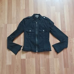 Joie black distressed utility zip up jacket small